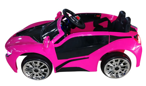 RICCO® Kids 2x6V 15W TWO MOTORS Battery Powered UNBRANDED BMW i8 Style Electric Ride On Toy Car (Model: KL1888) (Pink)