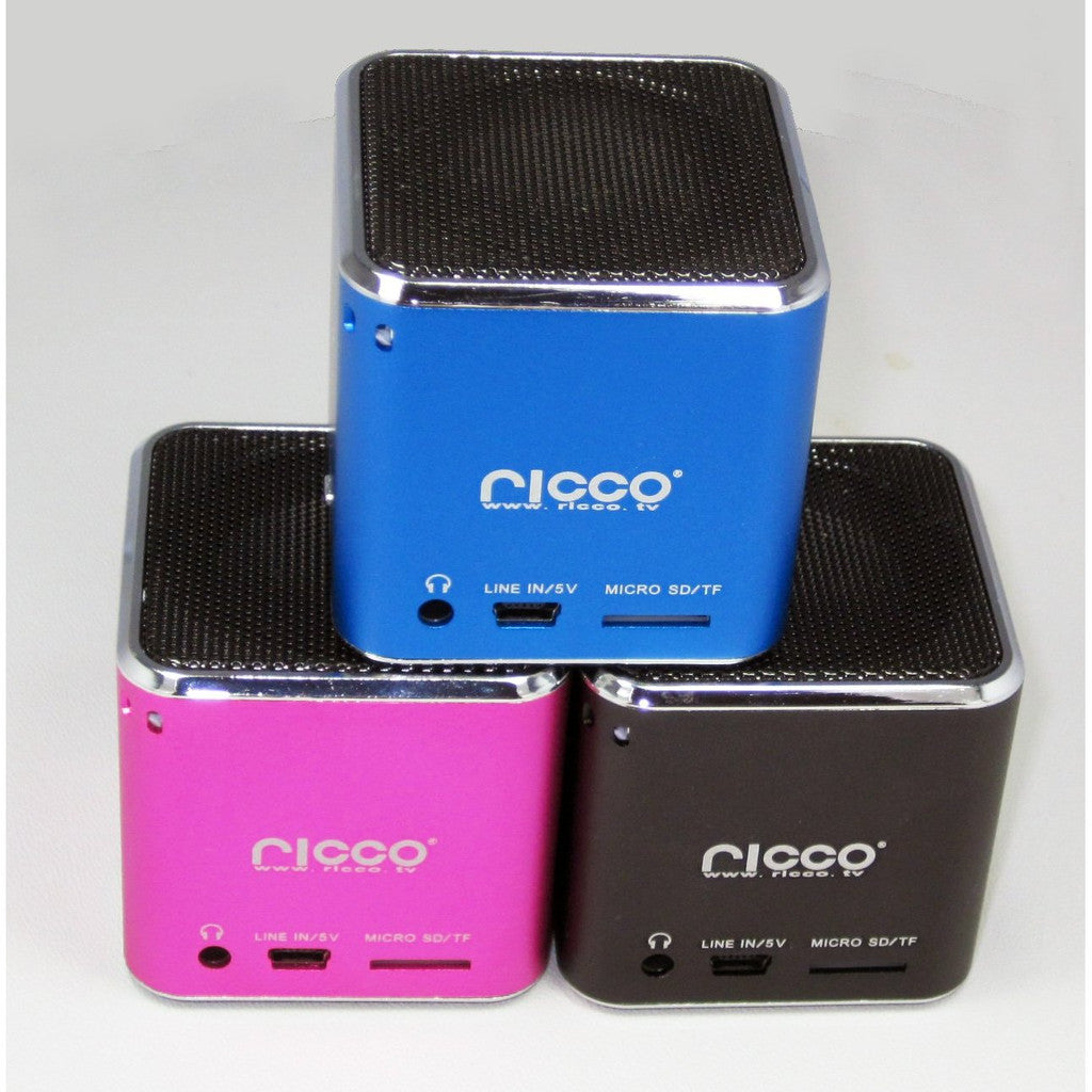 Ricco MD7 CUBE Aluminium Portable Speaker MP3 Player AUX Line-in FM Radio