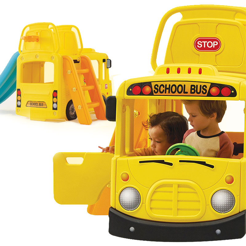 Ricco Y1602 YELLOW BUS 3-in-1 Indoor/Outdoor Bus Climb and Slide Kids/Toddler/Nursery Activity Role Play Centre with Door and Saddle, Yellow