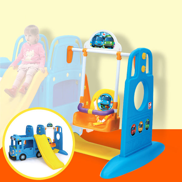 RICCO 3-in-1 Indoor Outdoor Bus Climb and Slide Kids Toddler Nursery Activity Role Play Centre with Door and Saddle (Y1543 BLUE BUS + Y1627 SWING)
