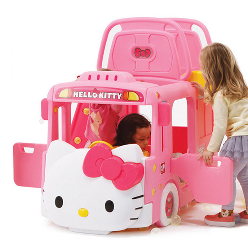 Ricco Y1601 HELLO KITTY BUS 3-in-1 Indoor/Outdoor Bus Climb and Slide Kids/Toddler/Nursery Activity Role Play Centre with Door and Saddle, Pink