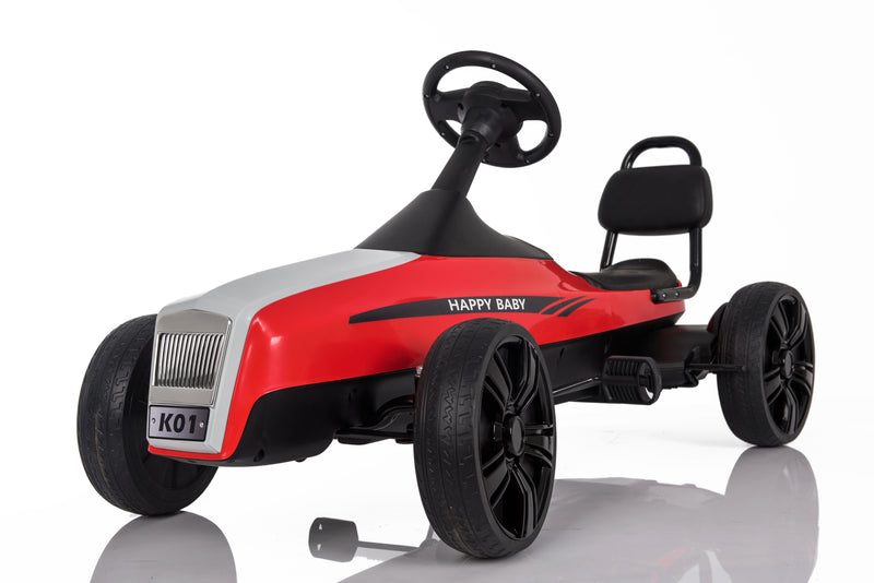 Large 5-12 Year Old Kids Outdoor Go Kart with Foot Pedal and Brake Lever (Model: K01) RED