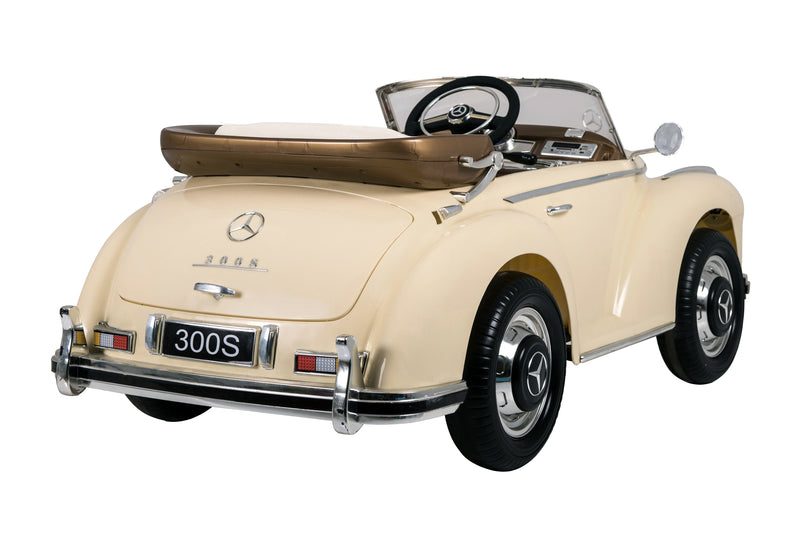 Mercedes Benz 300S (W188) Licensed 4x4 Kids Electric Ride On Car with Leather Seat, EVA Wheels, Remote Control LED Lights and Music (LS618 BIEGE)