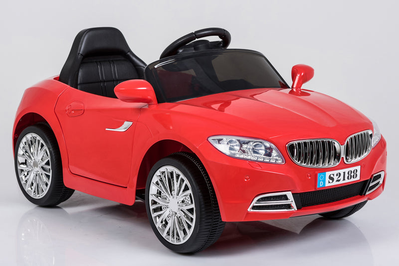 Kids 2x6V 15W TWO MOTORS Battery Powered BMW Style Electric Ride On Toy Car (Model: S2188) RED