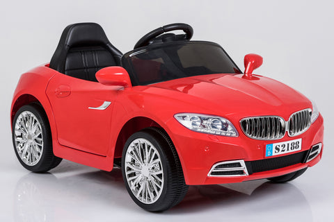 Kids TWO 6V 15W BATTERIES TWO MOTORS Powered BMW Style Electric Toy Car (Model: S2188) RED, WHITE OR PINK
