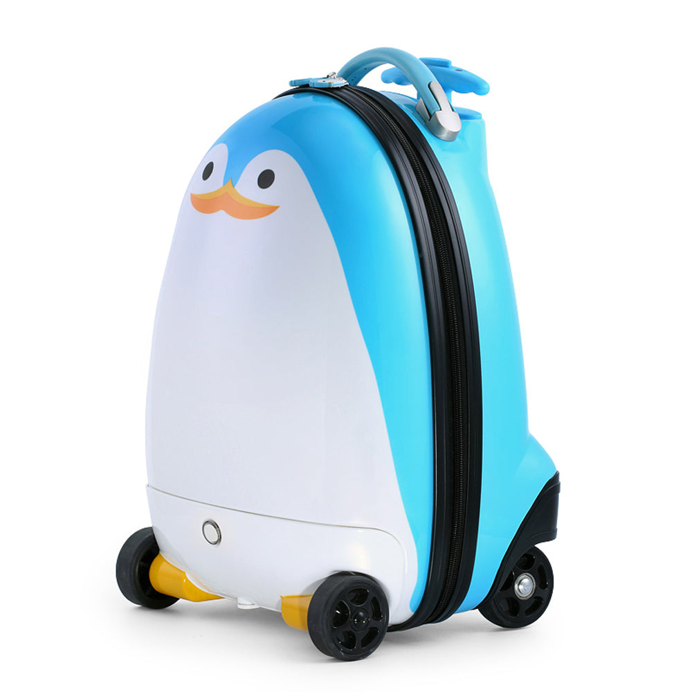 Kids Battery Powered Remote Control Walking Suitcase Cabin Hand Luggage (PENGUIN) RST1605