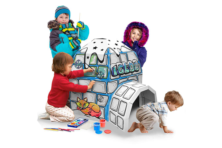 RICCO® Kids 3D Cardboard Playhouse for Colouring and Pretended Play (GL11864 Igloo)