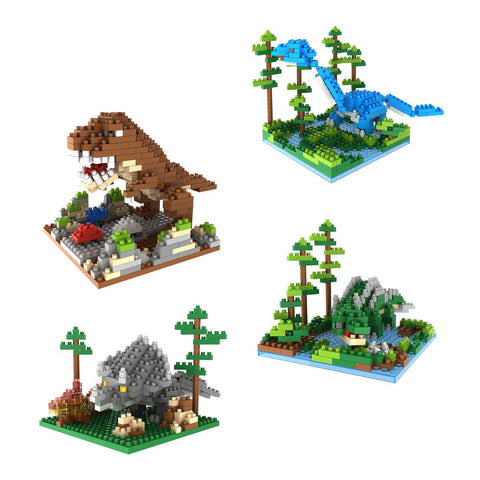 4-in-1 Combo Pack 1100 Pixel Blocks Toy Kids Gift Bricks (4x Dinosaur Themes)