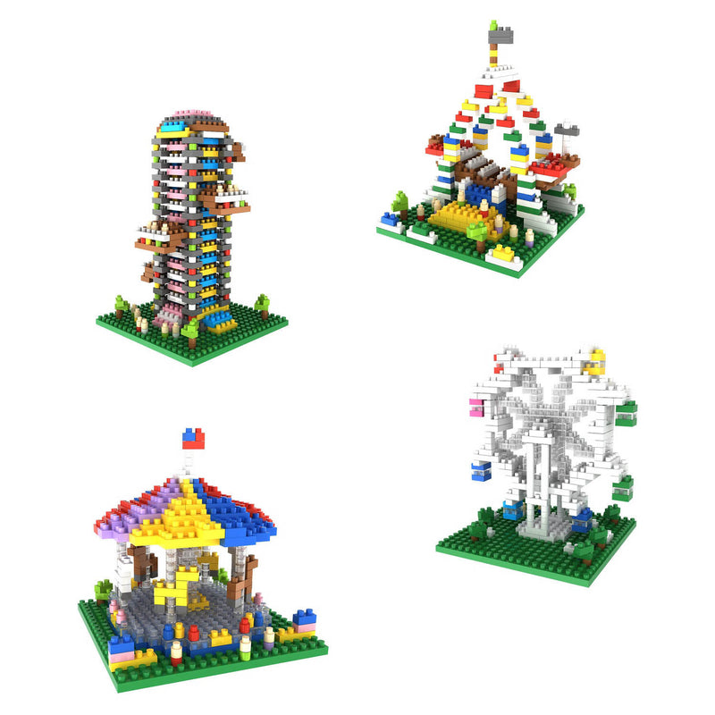 RICCO® 4-in-1 Combo Gift Pack 1130 Pixel Blocks Toy Kids Bricks Craft (4x Parks and Towers) (MODEL 402)
