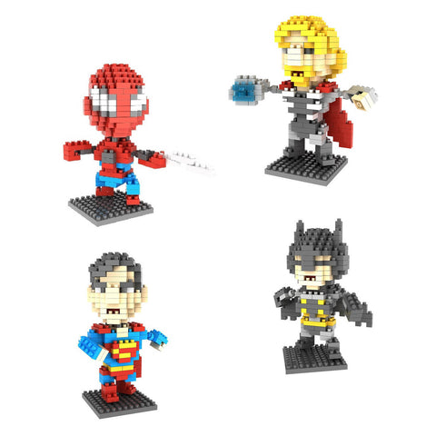 4-in-1 Combo Gift Pack 800 Pixel Blocks Toy Kids Bricks Craft (4x Heroes)