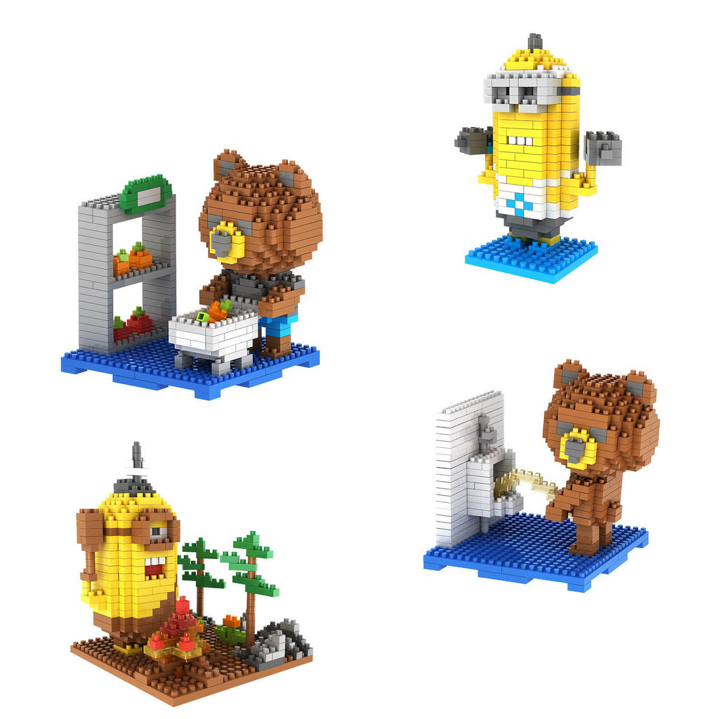 RICCO® 4-in-1 Combo Gift Pack 1400 Pixel Blocks Toy Kids Bricks Craft (4x Teddy Bear and Little Yellow Guys)  (MODEL 404)
