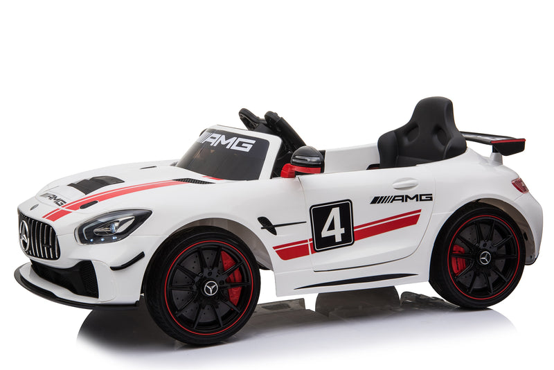 Mercedes Benz GT4 AMG SPORTS EDITION Two Motors Licenced Battery Powered Kids Electric Ride On Toy Car (Model: SX1918) WHITE