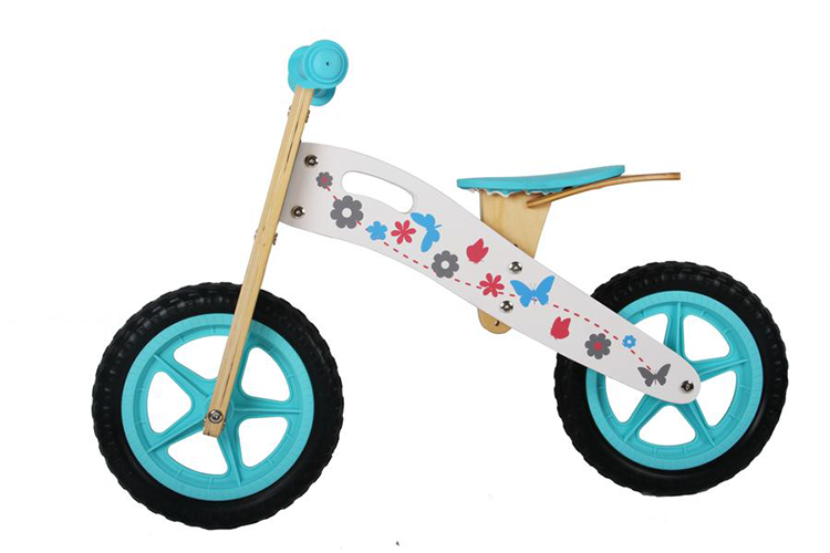 "RICCO® Wooden Balance Bike Red with 12"" EVA Wheels (Model: WB16) WHITE/TURQUOISE"