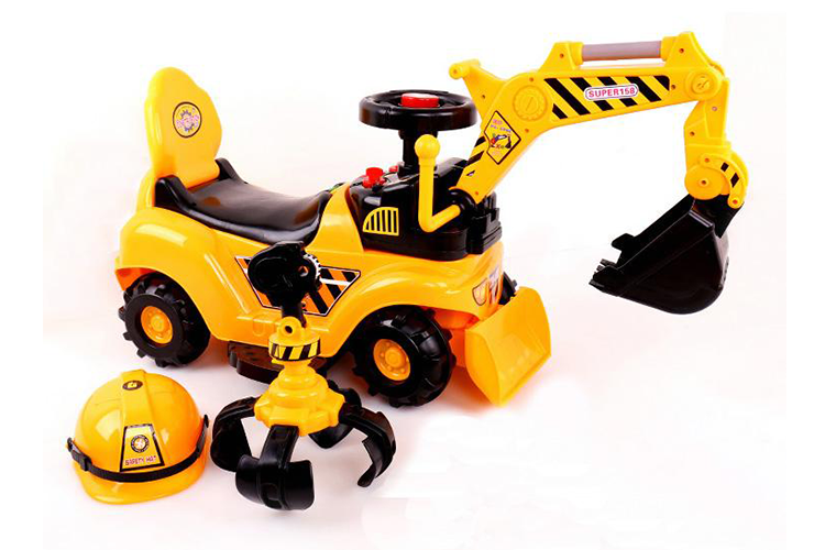 RICCO® 2 in 1 Ride On Toy Digger Excavator Grabber Bulldozer with Helmet (Model: WJ007)