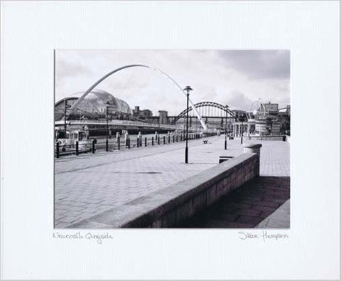 Millennium Bridge & Tyne Bridge | Black & White Photographic Mounted Print