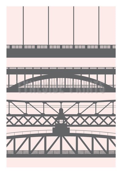 Tyneside Bridges Pink Art Print | Tyneside Prints