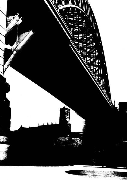Black on white tyne bridge photographic print tyneside prints