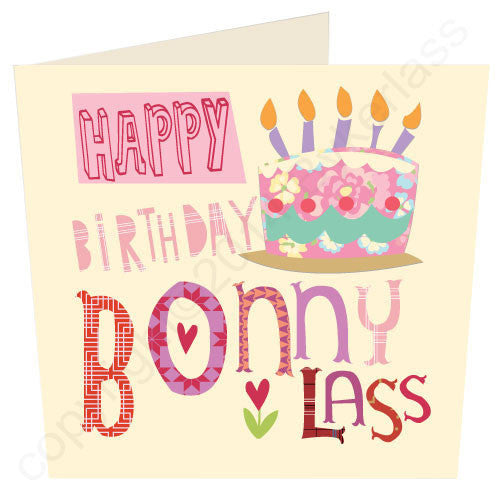 Happy Birthday Bonny Lass | Geordie Card | Tyneside Prints
