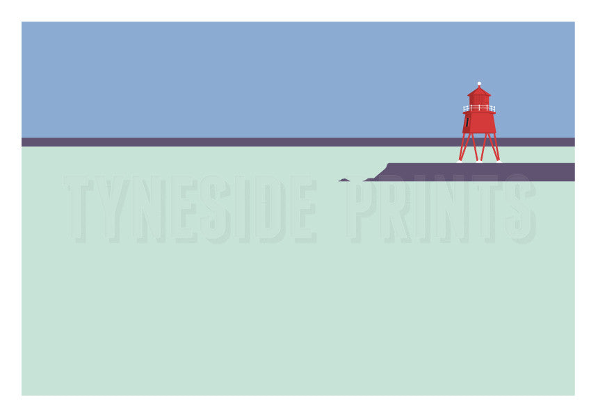 Herd Groyne Lighthouse - South Shields Greeting Card | Tyneside Prints