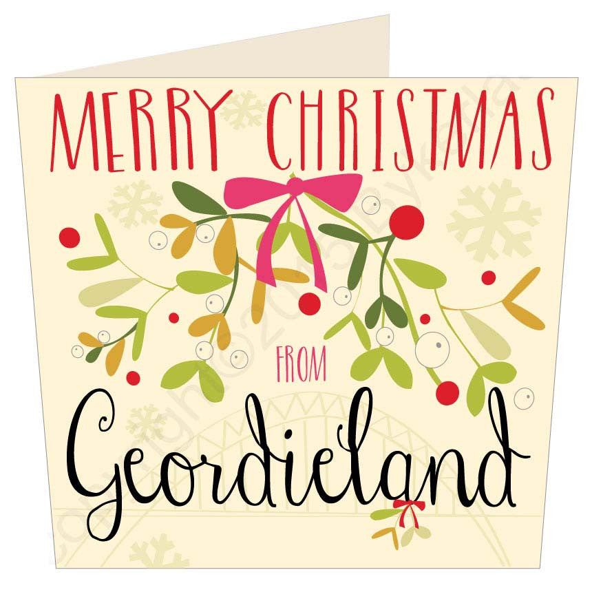 Merry Christmas From Geordieland | Christmas Card | Tyneside Prints