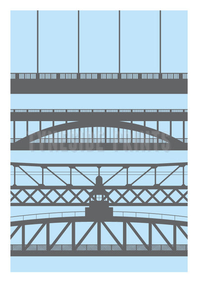 Tyneside Bridges Greeting Card - Blue | Tyneside Prints