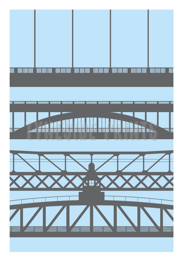 Tyneside Bridges Greeting Card - Pink | Tyneside Prints