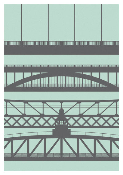 Tyneside Bridges Greeting Card - Green | Tyneside Prints