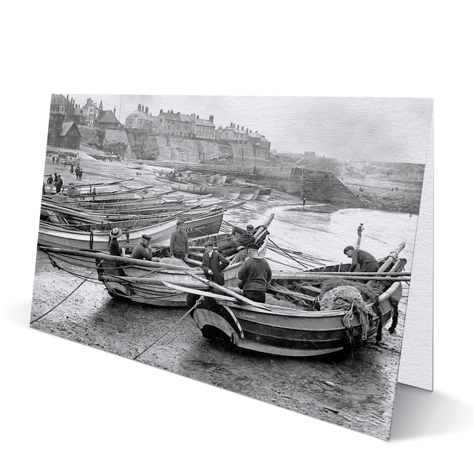 Fishermen at Cullercoats Bay 1911 - Greeting Card