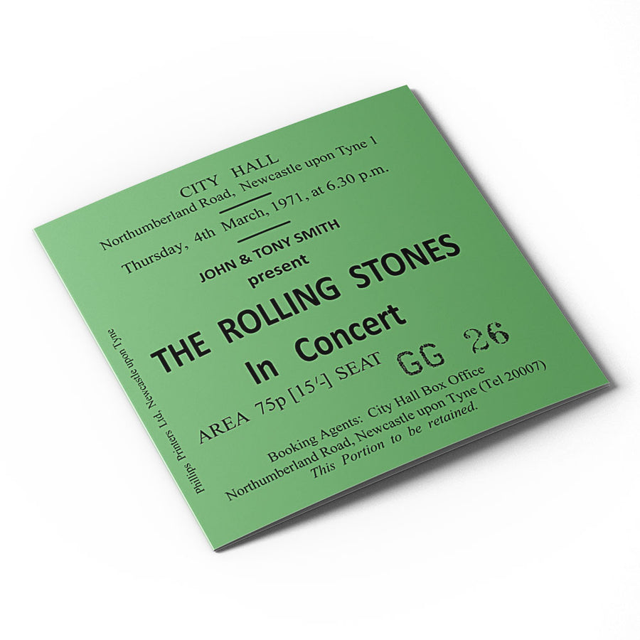 The Rolling Stones Newcastle City Hall Ticket Card