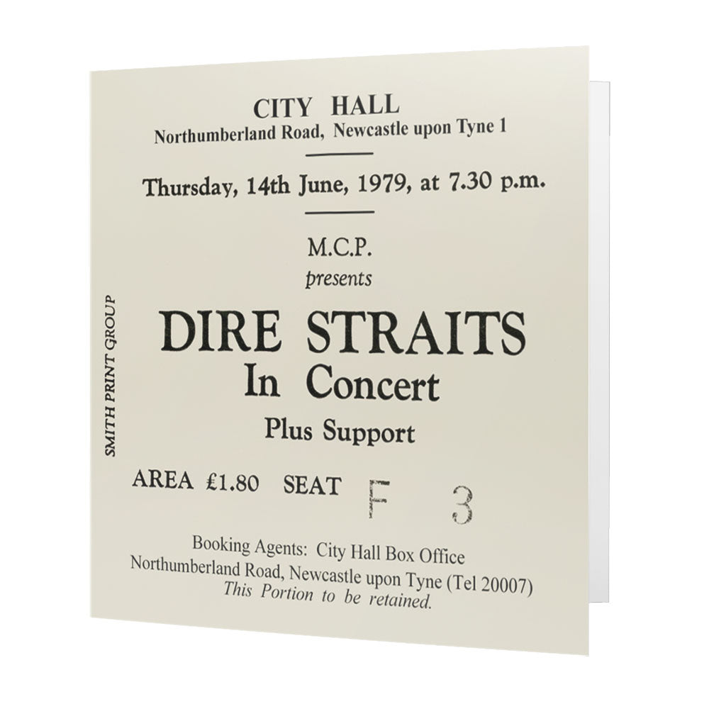 Dire Straits Newcastle City Hall Ticket - Card