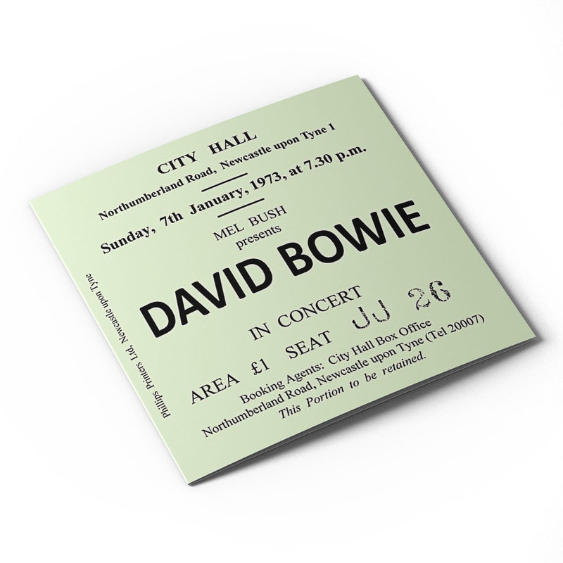 David Bowie Newcastle City Hall Ticket - Card