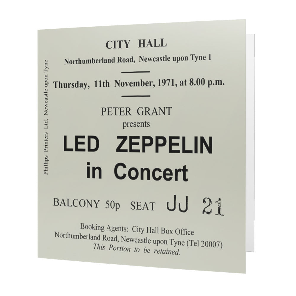 Led Zeppelin Newcastle City Hall Ticket Card