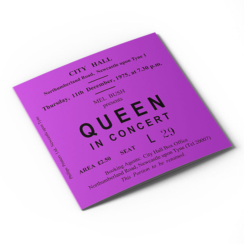 Queen Newcastle City Hall Ticket - Card