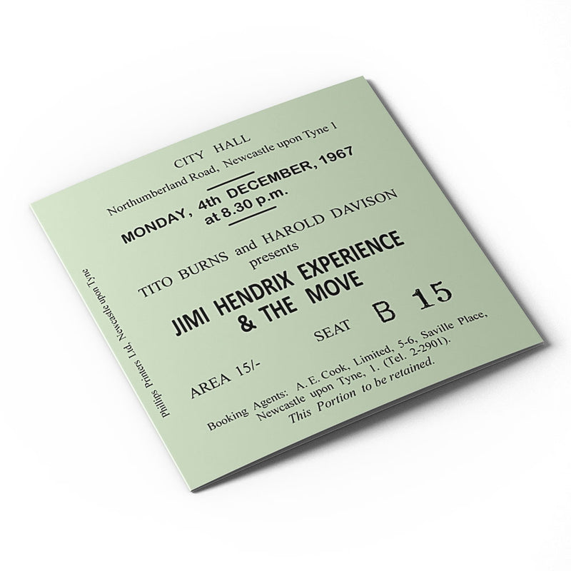 Jimi Hendrix Newcastle City Hall Ticket - Card