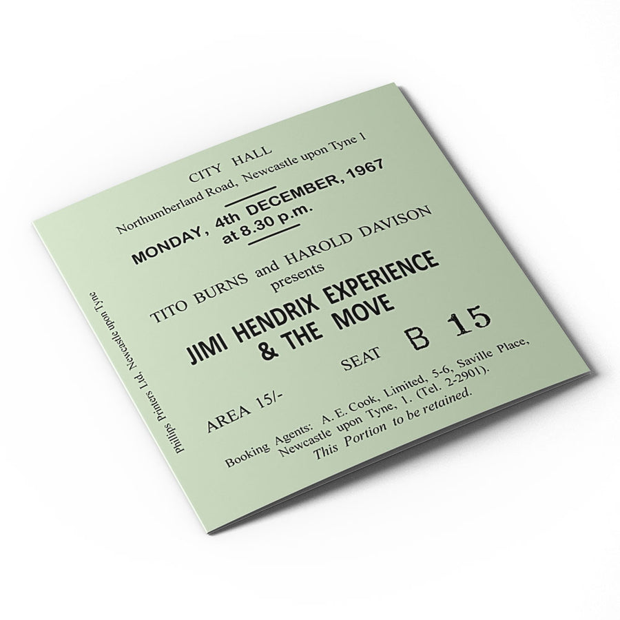 Jimi Hendrix Newcastle City Hall Ticket Card