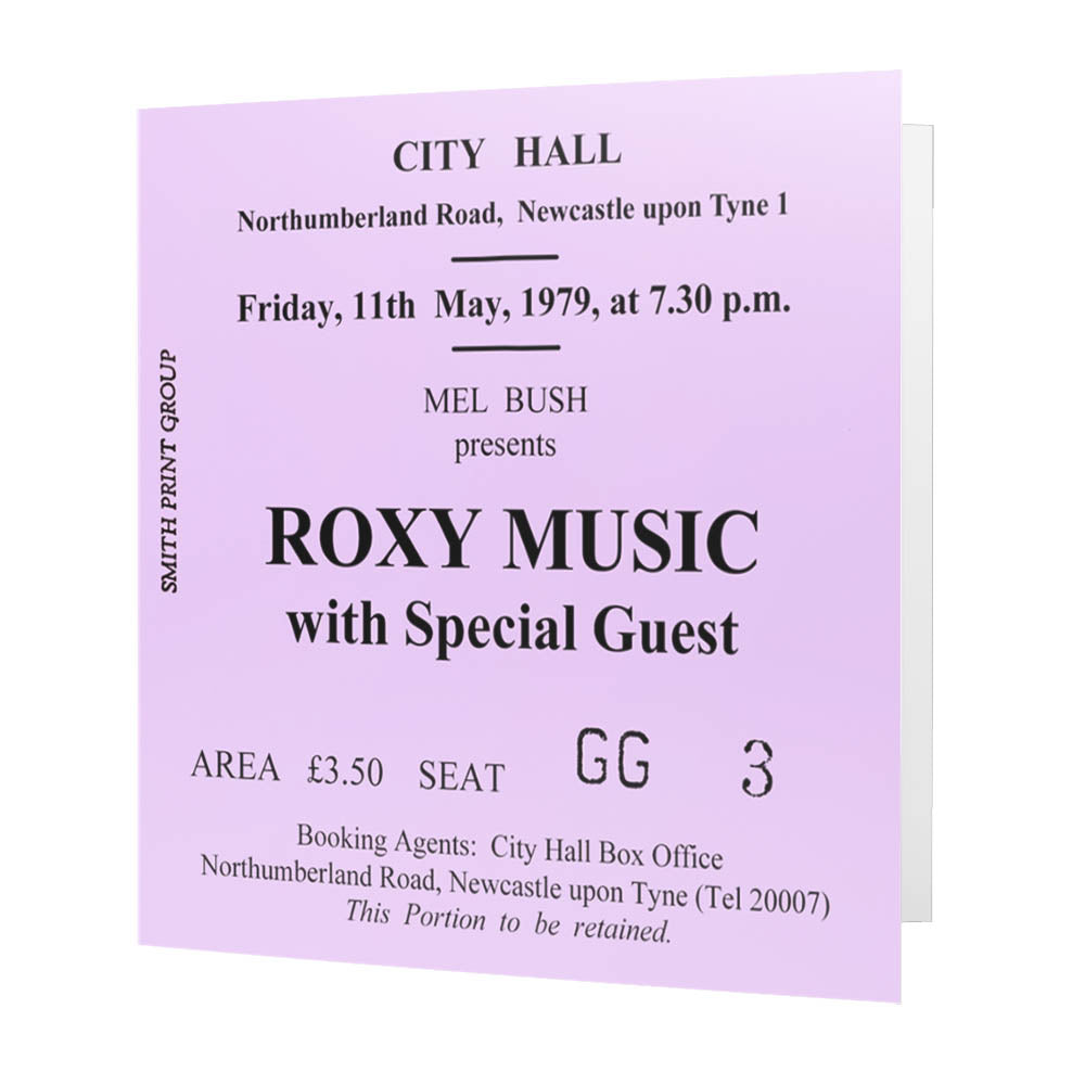 Roxy Music Newcastle City Hall Ticket - Card