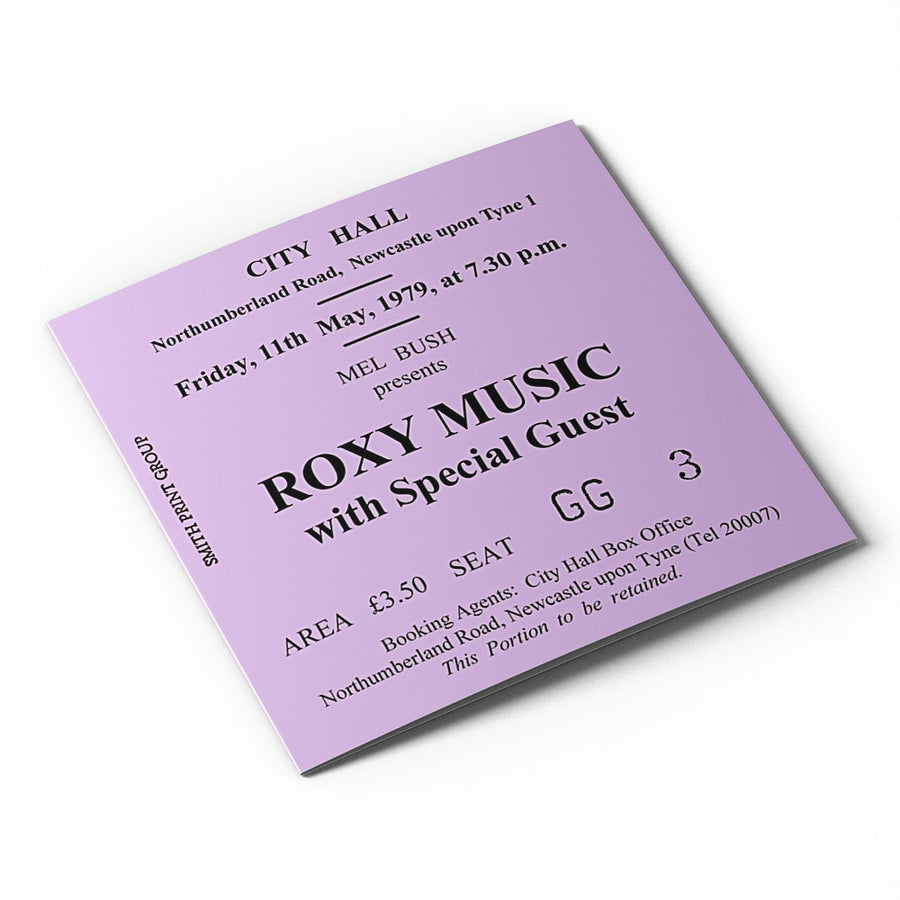 Roxy Music Newcastle City Hall Ticket Card