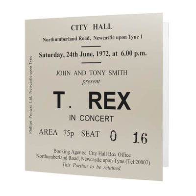 T. Rex Newcastle City Hall Ticket Card