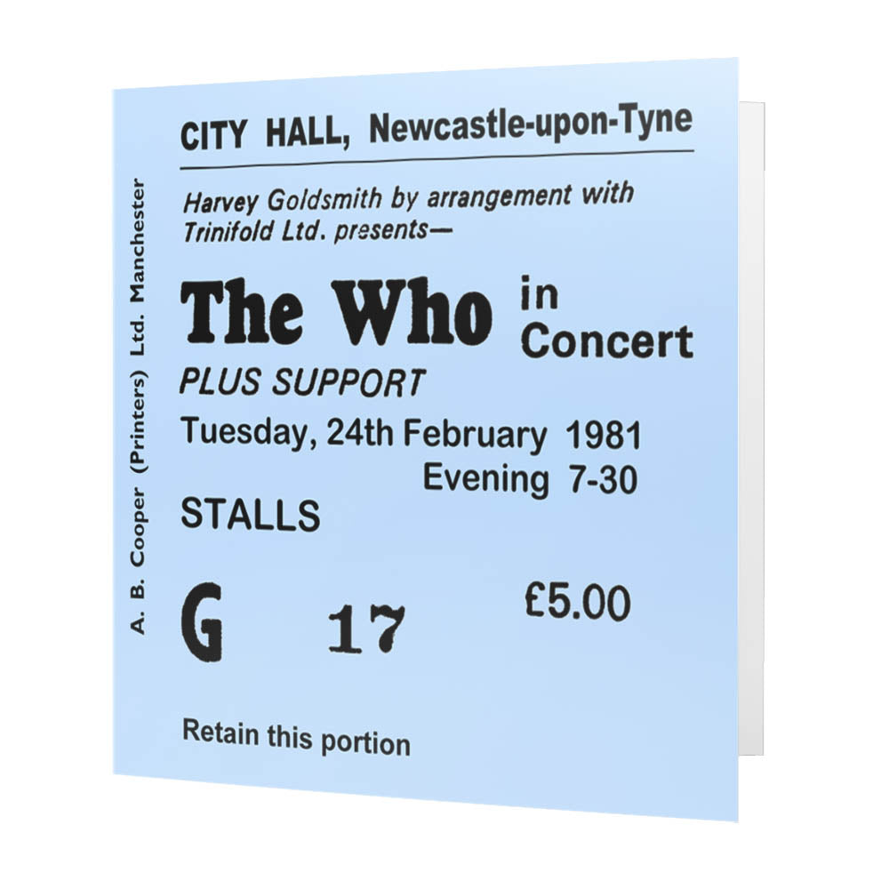 The Who Newcastle City Hall Ticket - Card