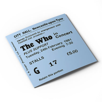 The Who Newcastle City Hall Ticket Card