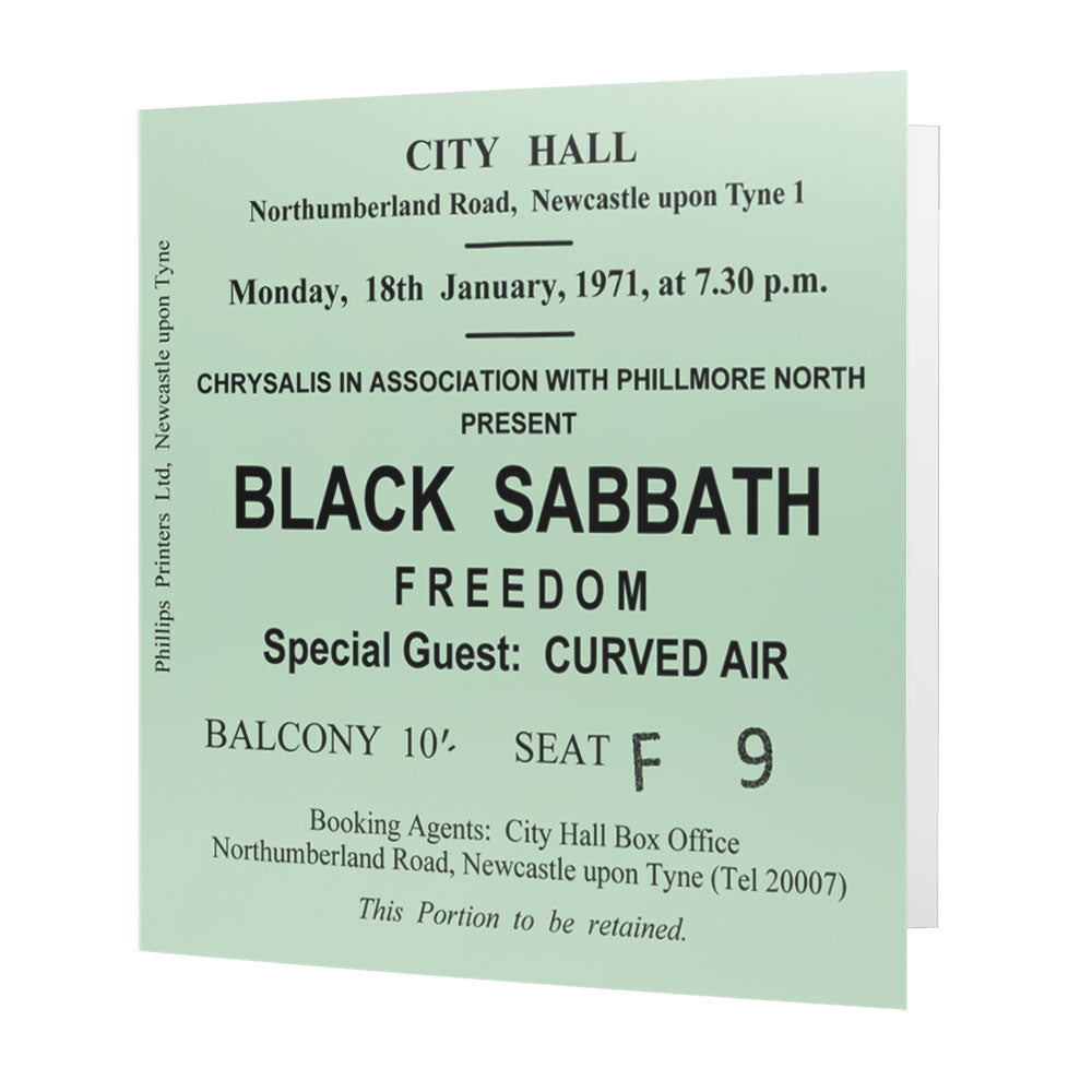 Black Sabbath Newcastle City Hall Ticket - Card