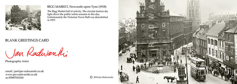Bigg Market Newcastle (1918) | Greeting Card