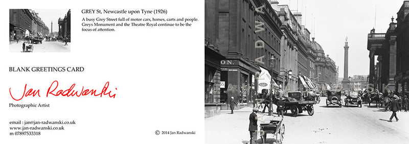 Grey Street Newcastle (1926) | Greeting Card