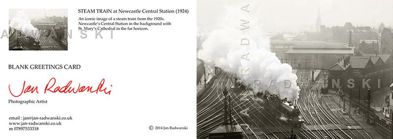 Steam Train at Newcastle Central Station (1924) | Front View | Greeting Card