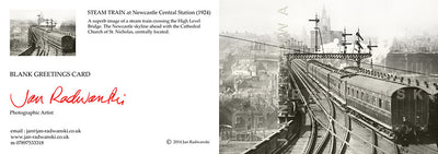 Steam Train High Level Bridge Newcastle (1924) | Front & Back View | Greeting Card