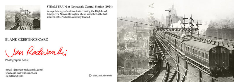 Steam Train High Level Bridge Newcastle (1924) | Front View | Greeting Card