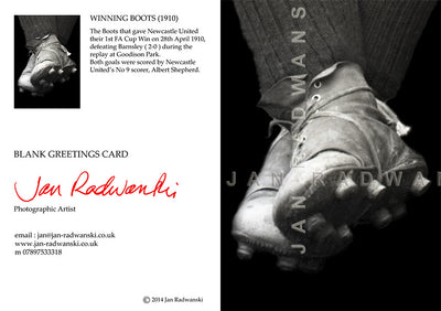 Winning Boots 1st FA Cup Win 1910 Newcastle United | Front & Back View | Greeting Card