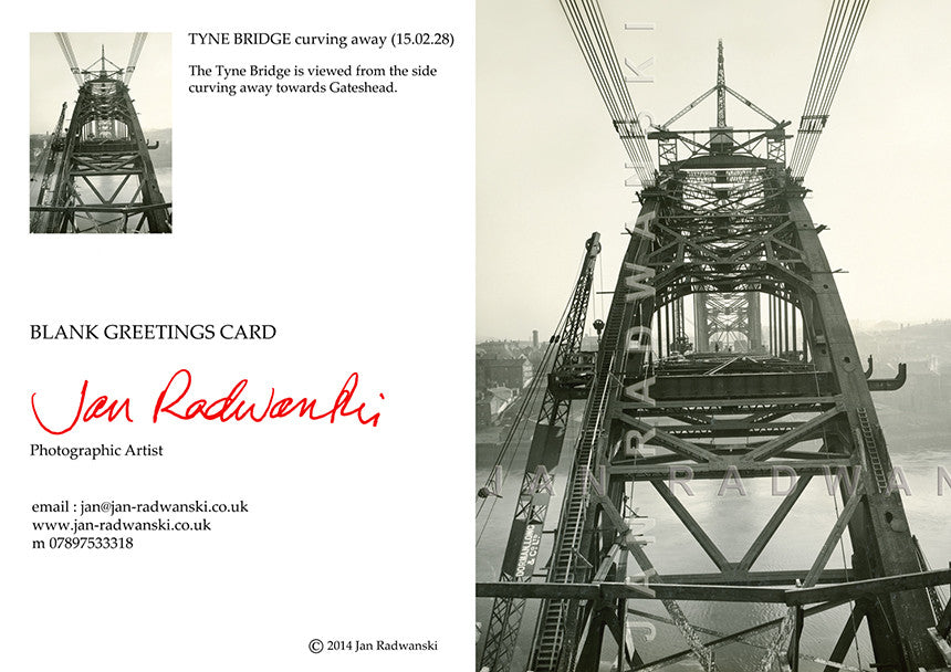 Tyne Bridge Curving Away (1928) | Front View | Greeting Card