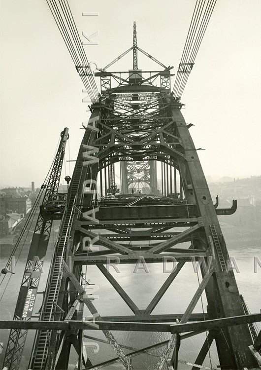 Tyne Bridge Curving Away (1928) | Greeting Card
