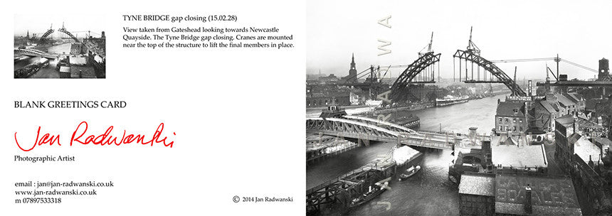 Tyne Bridge Gap Closing (1928) | Front View | Greeting Card